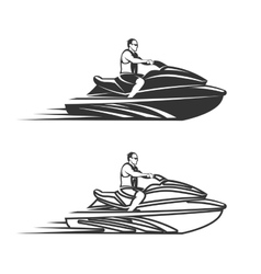 Set of man on jet ski isolated white background vector