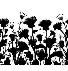 silhouettes flowers and grass vector image