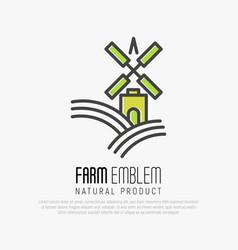 Simple logo for farm on green hills vector