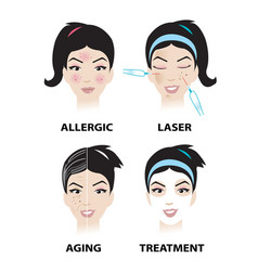 Skin problems and skin care vector