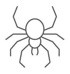 Spider thin line icon spooky and animal arachnid vector