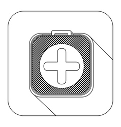 Square shape with silhouette kit first aid in box vector
