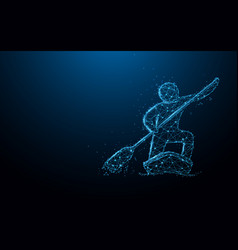 stand up paddle boarding from lines and particle vector image