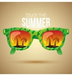 Tropical view in sunglasses vector image