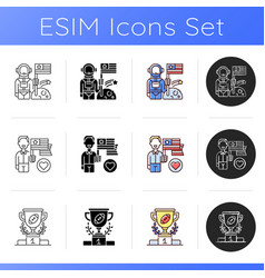 us icons set vector image