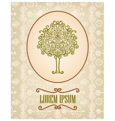 vintage card with hand drawn tree vector image