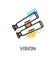 Vision icon and binocular on white background vector