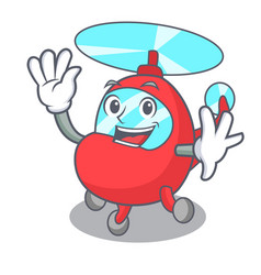 waving helicopter character cartoon style vector image