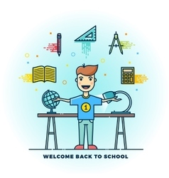 Welcome Back to School Line Style Flat vector