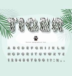 White tiger skin 3d cartoon font animal fur vector