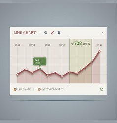 Widget with growing line chart and icons vector