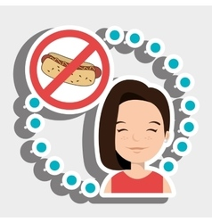 Woman cartoon fast food prohibited vector