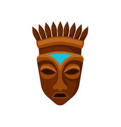 wooden african mask decorated with crown symbol vector image