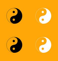 yin yang symbol set black and white icon vector image