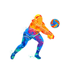 abstract volleyball player vector image vector image