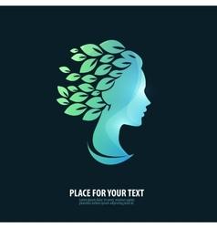 Girls head Logo icon emblem template vector image