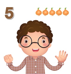 Learn number and counting number five vector image