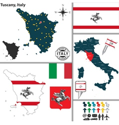 Map of Tuscany vector image vector image