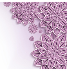 Nature background with purple 3d paper flowers vector image