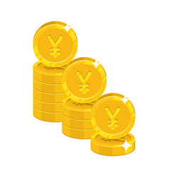 piles gold chinese yuan or japanese yen isolated vector image vector image
