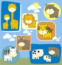 baby animals set vector image vector image
