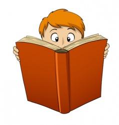cartoon boy reading big book vector image vector image