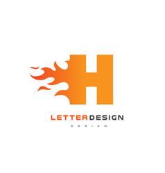 h letter flame logo design fire logo lettering vector image vector image