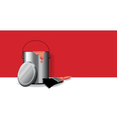 red paint pot banner vector image vector image
