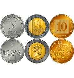 Set Israeli silver money shekel coins vector image