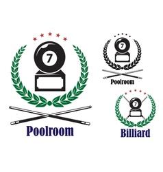 Billiard or pool badges or emblems vector image vector image