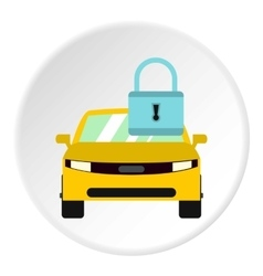 Car is under protection icon flat style vector