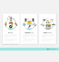 dj music party linear business brochures vector image