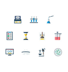 forensic examination flat color icons set vector image