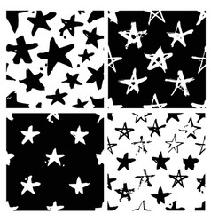 set of hand drawn paint seamless pattern black vector image vector image