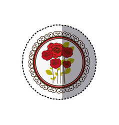 color decorative emblem with oval roses inside vector image