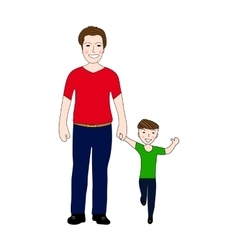 Happy dad holding baby son by the hand vector image