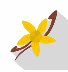 Vanilla pods and flower icon flat style vector