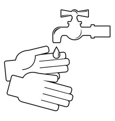 wash your hands icon on white background vector image vector image