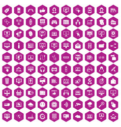 100 internet icons hexagon violet vector image