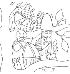 A children coloring bookpage acartoon gnome on vector