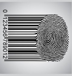 barcode becoming fingerprint vector image