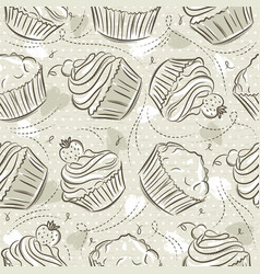 Beige seamless patterns with different cupcaks on vector