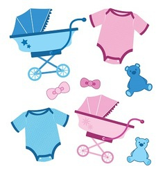Blue and pink baitems for boys and girls vector
