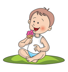 boy eating ice cream vector image