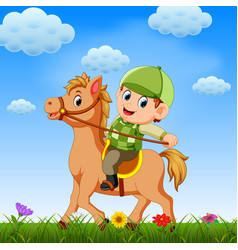 Boy ridding horse and playing vector