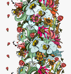 Bright floral ornamental in frieze of garden vector