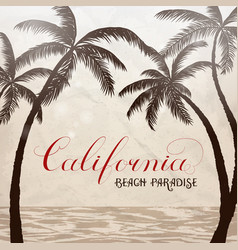 california lettering with palms background vector image