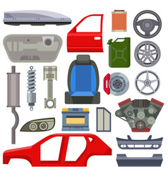car service parts mechanic repair flat vector image