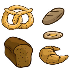 cartoon bread loaf pretzel beaker icon set vector image