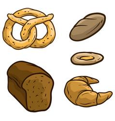 cartoon bread loaf pretzel beaker icon set vector image